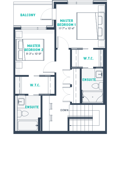 Plan TH2-Rev Upper Floorplan