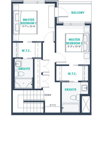 Plan TH4 Upper Floorplan
