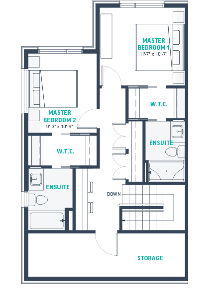 Plan TH1 Upper Floorplan