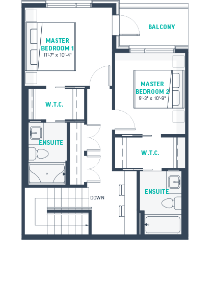 Plan TH2 Upper Floorplan