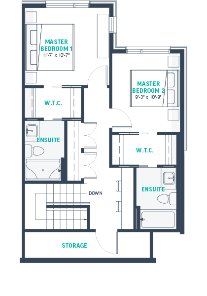 Plan TH3 Upper Floorplan