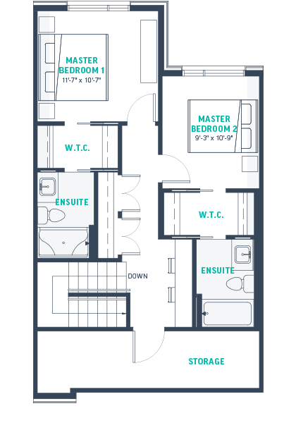 Plan TH2A  Upper Floorplan